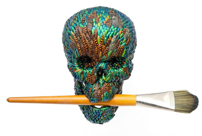 Jan Fabre, Skull with brush (artificial hair) (2015), mixed media, Courtesy Linda&Guy Pietersen
