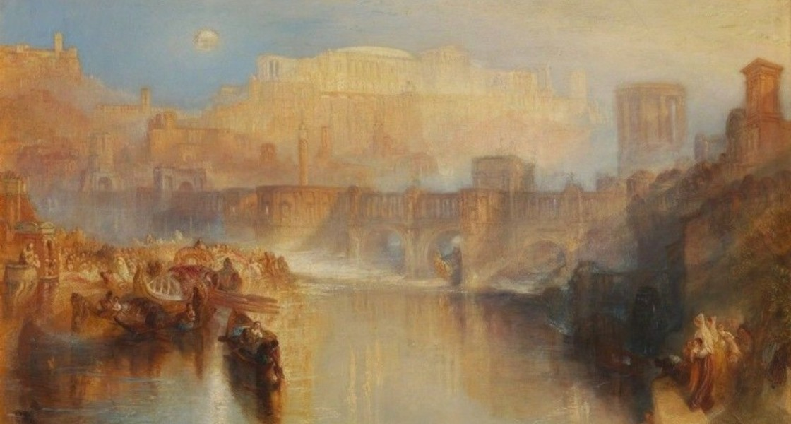 William Turner. Ancient Rome; Agrippina Landing with the Ashes of Germanicus, 1839. Beskuren.