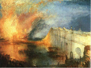 Burning of the Houses of Lords and Commons, olja, 1834