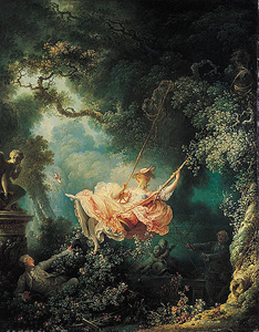 Exempel på rokoko-målning - Jean-Honoré Fragonard, The Swing, 1767