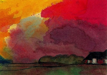 Emil Nolde . Farmstead under red evening