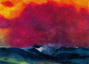 Emil Nolde Sea coast with Red sky