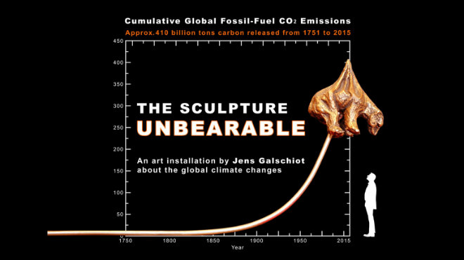 Jens Galschiot skiss av Unbearable – Polar bear impaled by CO2Graph in Paris