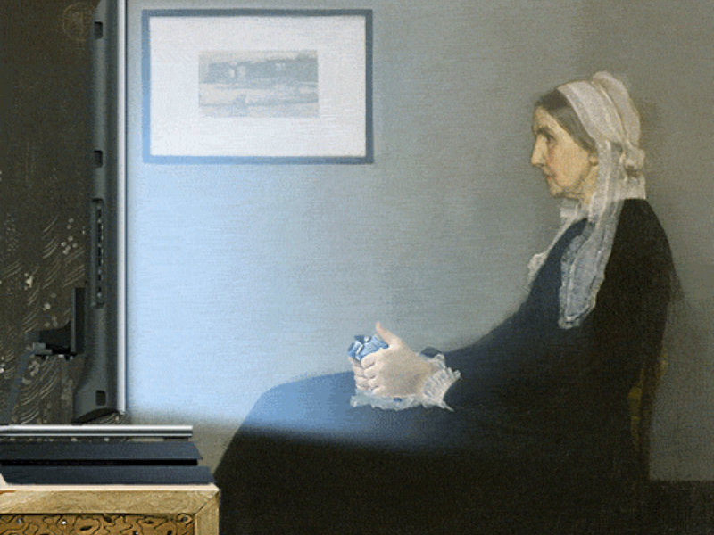 "Dataspelsvariant av ""Arrangement in Grey and Black: The Artist's Mother"" av James McNeill Whistler"