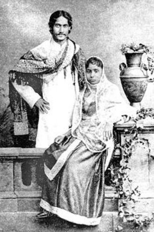 Tagore and his wife Mrinalini Devi, 1883