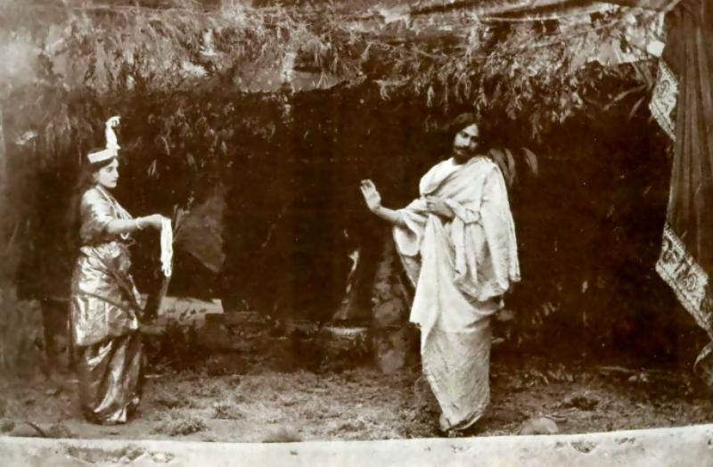 Tagore performing the title role inValmiki Pratibha (1881) with his niece Indira Devi as the goddess