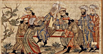 14th-century painting of the assassination of Nizam al-Mulk by an assassin.