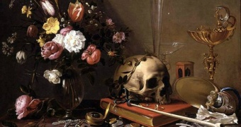 Adriaen van Utrecht. Vanitas Still Life with Bouquet and Skull (1642)