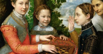 "Sofonisba Anguissola ""Lucia, Minerva and Europa Anguissola Playing Chess"" (1555)"